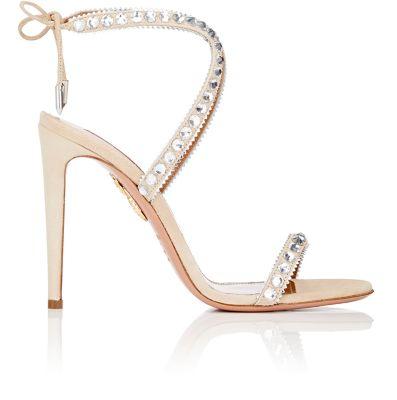 AQUAZZURA Sweet Lover Crystal Suede High Heel Sandals at BARNEYS