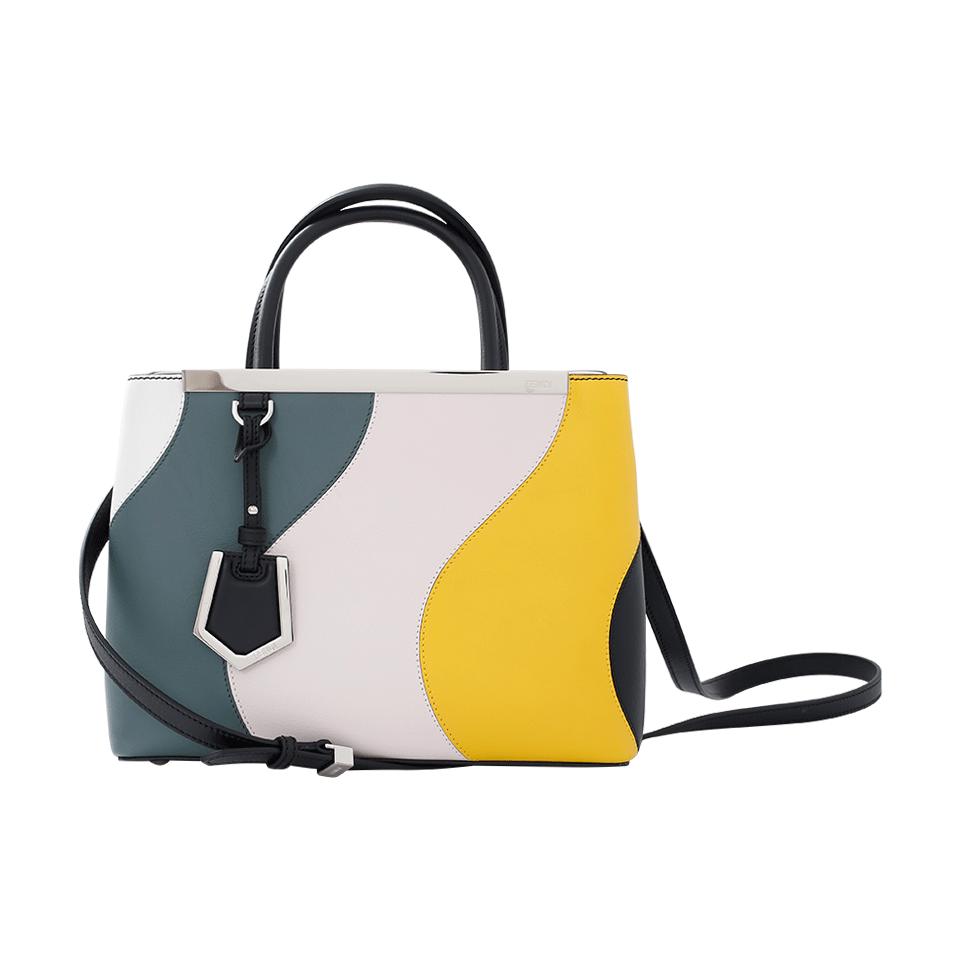 FENDI 2Jours Petite Waves Double-Handle Satchel Bag, White at Marissa Collections