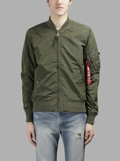 ALPHA INDUSTRIES Ma-1 Vf Reversible Nylon Bomber Jacket, Sage Green at Antonioli
