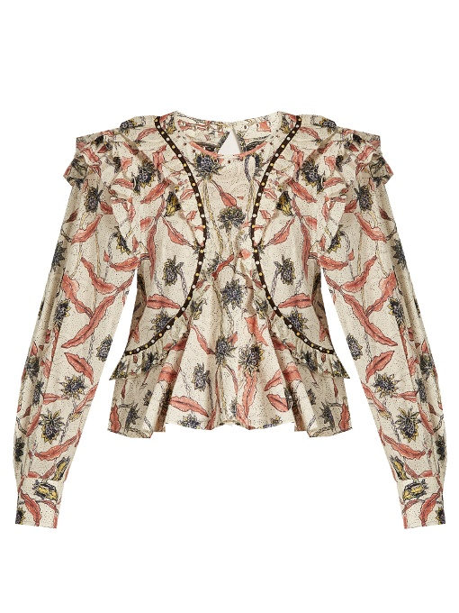 ISABEL MARANT Floral Printed Gauze Ruffled Top, Ecru at MATCHESFASHION.COM