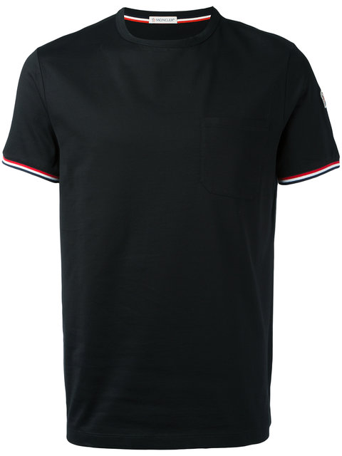 MONCLER V-Neck T-Shirt With Tricolor-Striped Sleeves, Light Gray at Farfetch
