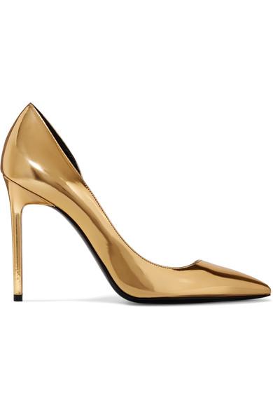 SAINT LAURENT Anya D'Orsay Metallic Patent-Leather Pumps in Colour: Gold