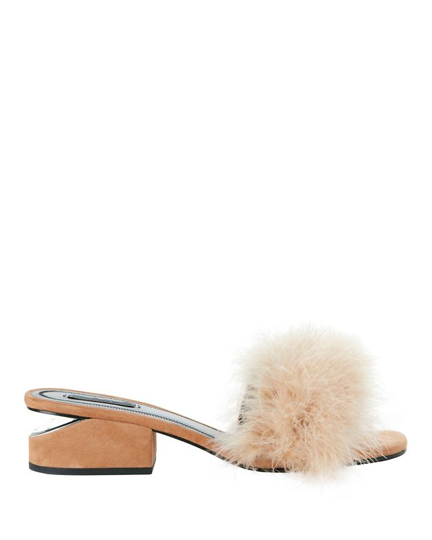 ALEXANDER WANG Lou Suede And Feather Slip-On Sandals at INTERMIX