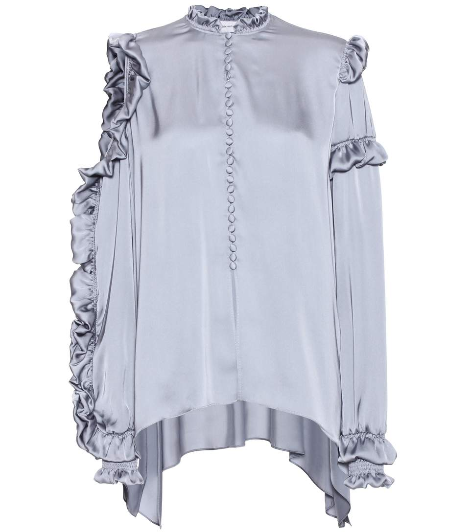 MAGDA BUTRYM Lecce Silk Satin Cold-Shoulder Blouse, Gray at mytheresa.com