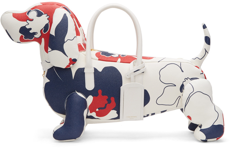 THOM BROWNE Tricolor Floral Outline Hector Tote at SSENSE