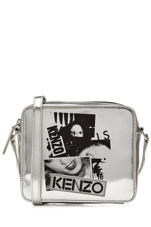 KENZO Metallic Leather Shoulder Bag With Print