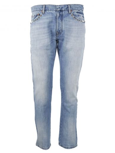 VALENTINO Rockstud Jeans in Blue Denim