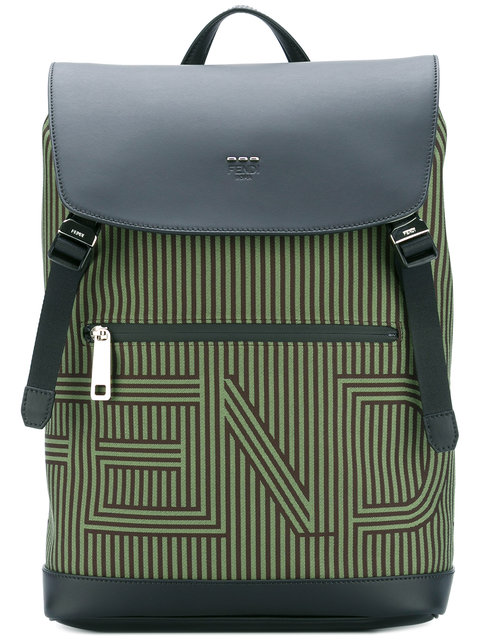 FENDI Striped Logo Backpack