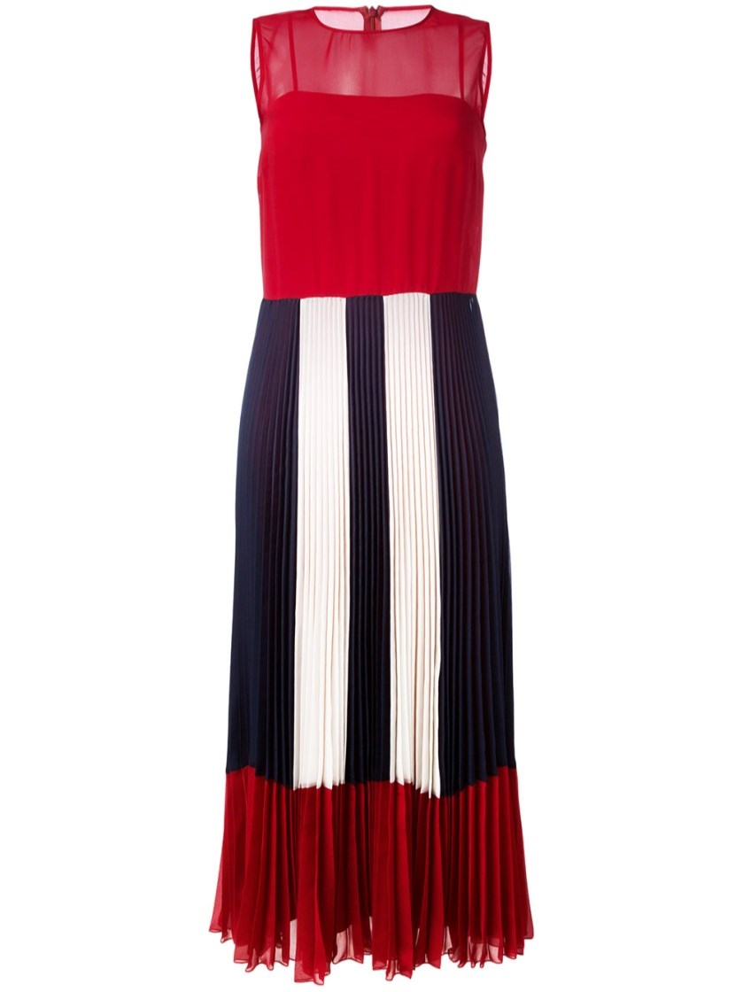 RED VALENTINO Sheer Pleated Dress