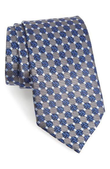 ERMENEGILDO ZEGNA Geometric Silk Tie in Graphite