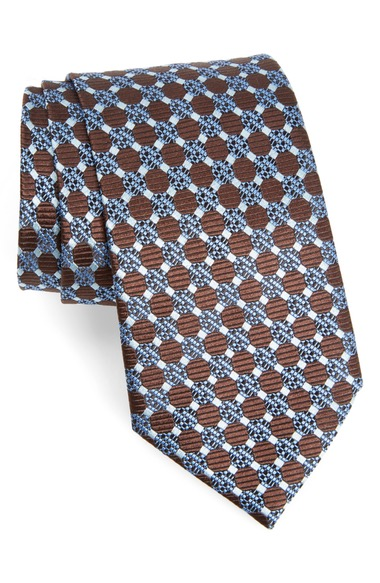 ERMENEGILDO ZEGNA Geometric Silk Tie in Brown