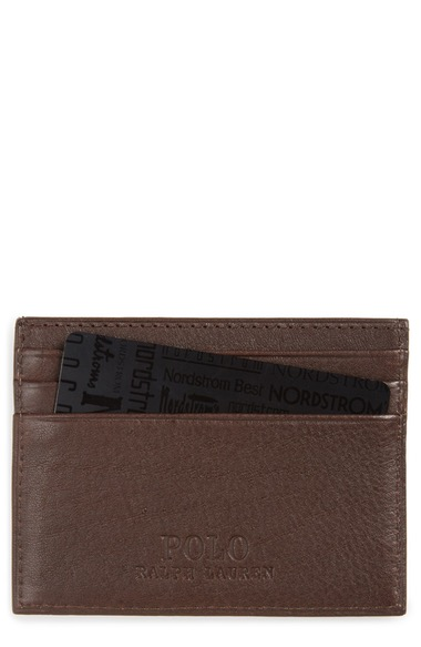 POLO RALPH LAUREN Leather Card Case in Brown