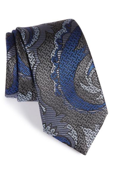 ERMENEGILDO ZEGNA Paisley Silk Tie in Graphite