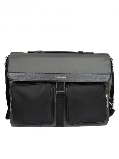 DOLCE & GABBANA Flap Shoulder Bag in Anthracite/Black