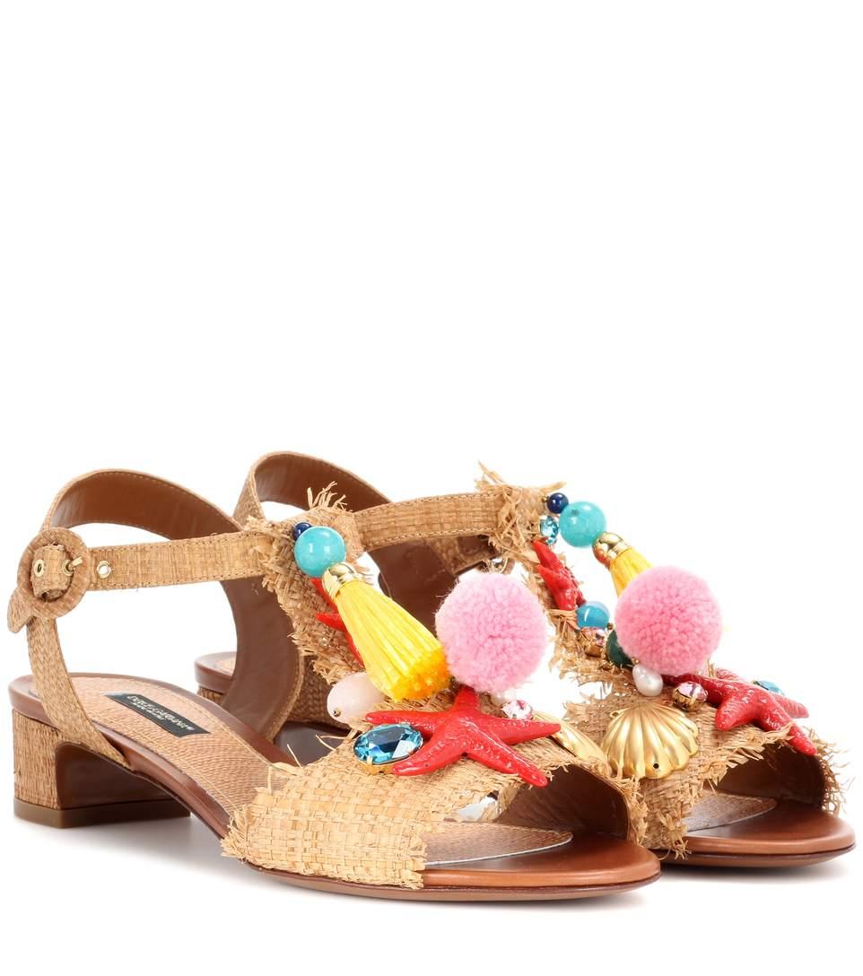 DOLCE & GABBANA Keira Embellished Sandals in Eatural