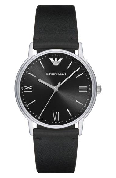 EMPORIO ARMANI Leather Strap Watch, 41Mm in Black