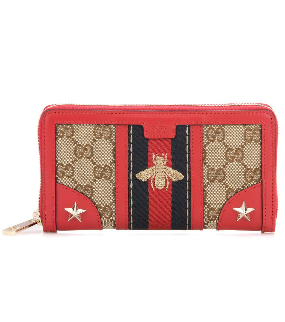GUCCI Leather And Fabric Zip-Around Wallet in L.El