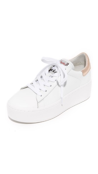 ASH Cult Platform Sneakers in White/Metal Rame