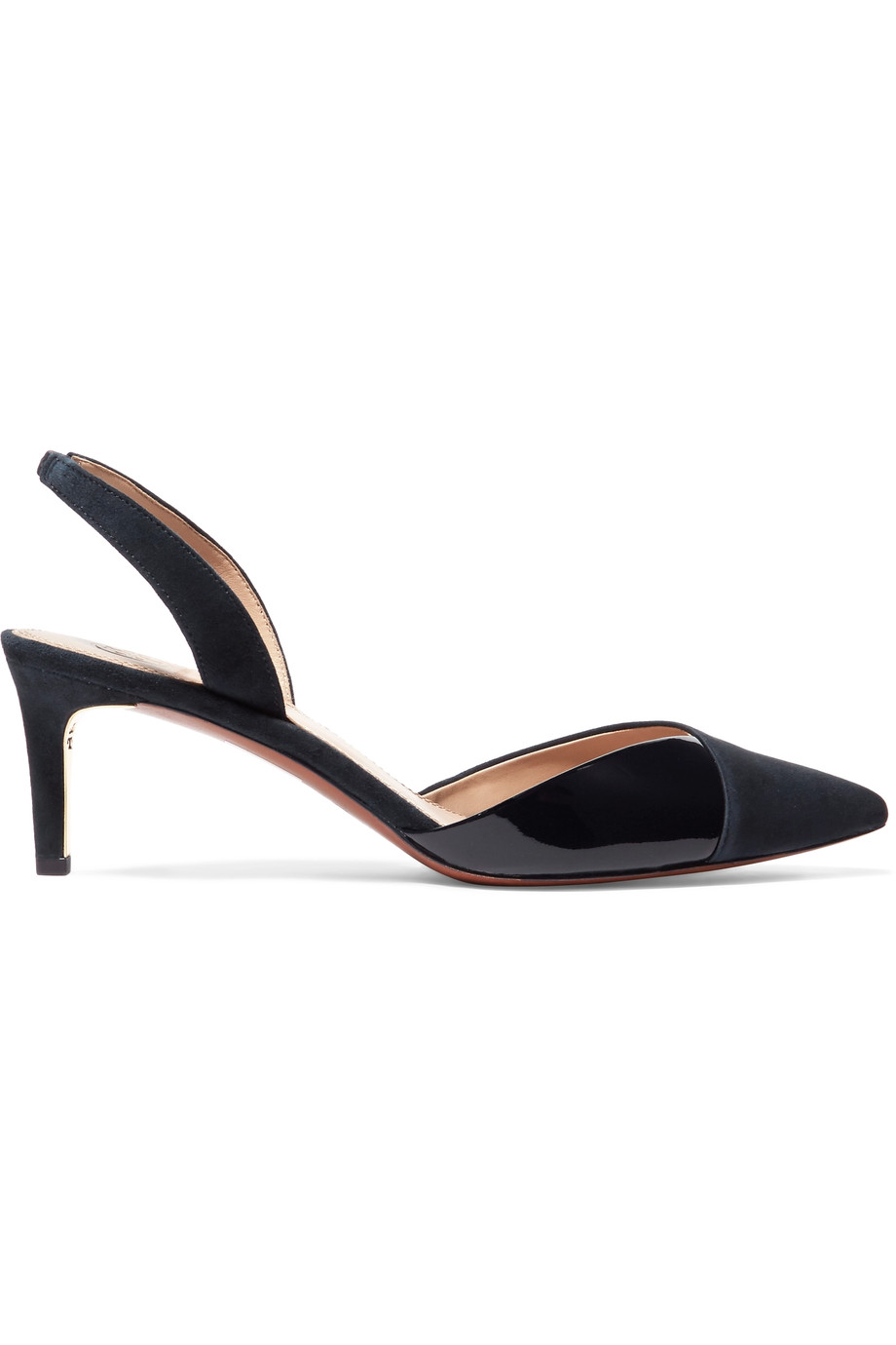 TORY BURCH Ramie Suede And Patent-Leather Slingback Pumps
