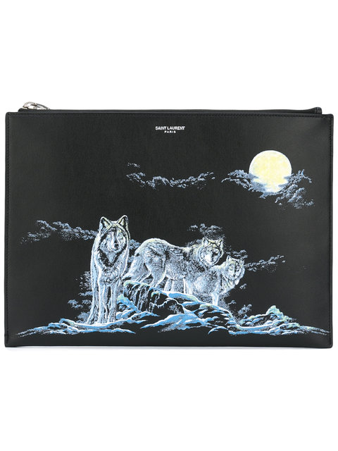 SAINT LAURENT Wolf Print Clutch