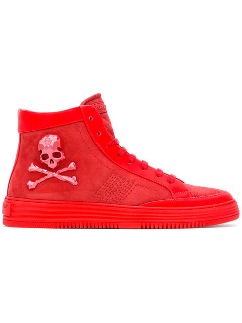 PHILIPP PLEIN Skull And Crossbones Hi-Top Sneakers