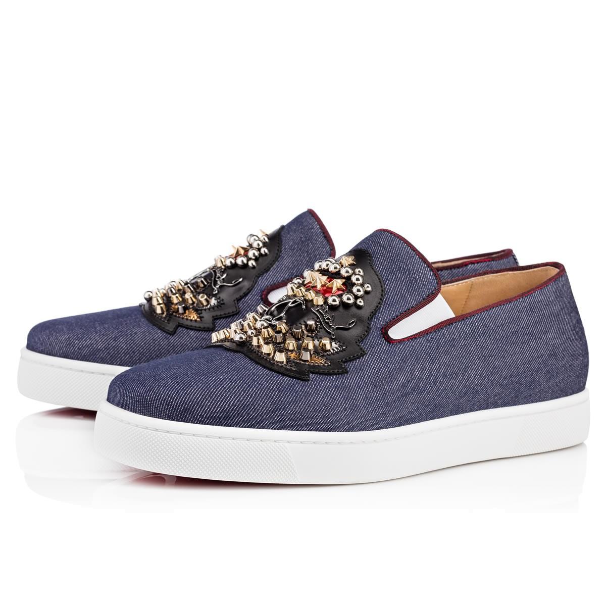 CHRISTIAN LOUBOUTIN Ecuboat Flat  Blue Denim - Men Shoes - Christian Louboutin