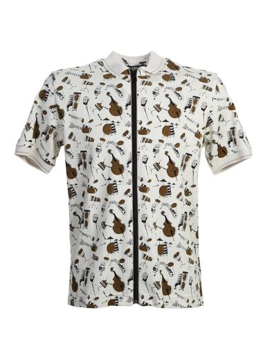 DOLCE & GABBANA Jazz Print Beige Cotton Zipped Polo at Italist.com