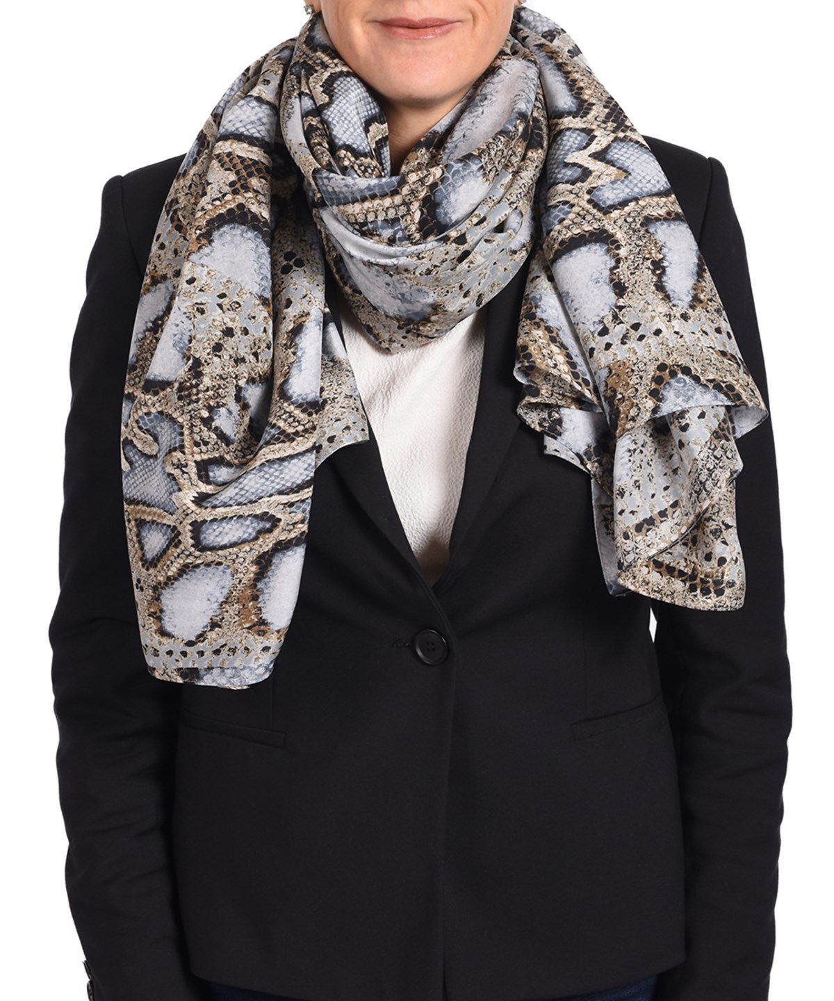 ROBERTO CAVALLI Roberto Cavalli Women'S Snake Skin Patterned Silk Scarf' at Bluefly