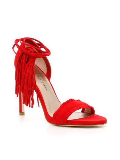STUART WEITZMAN Pompom Sandals in Red|Rosso
