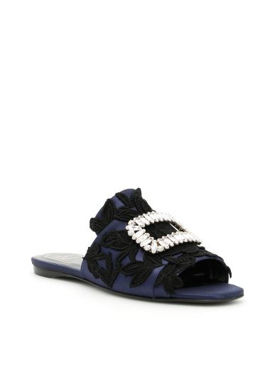 ROGER VIVIER Rabat Slippers In Silk Satin And Guipure