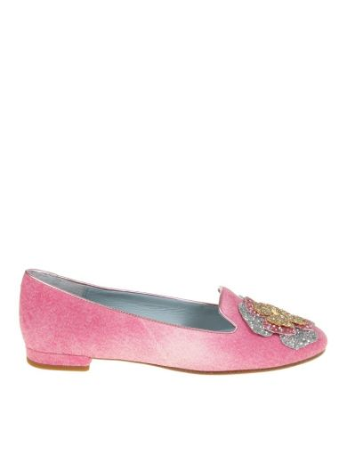 CHIARA FERRAGNI Pink Slip On With Applications in Pinky