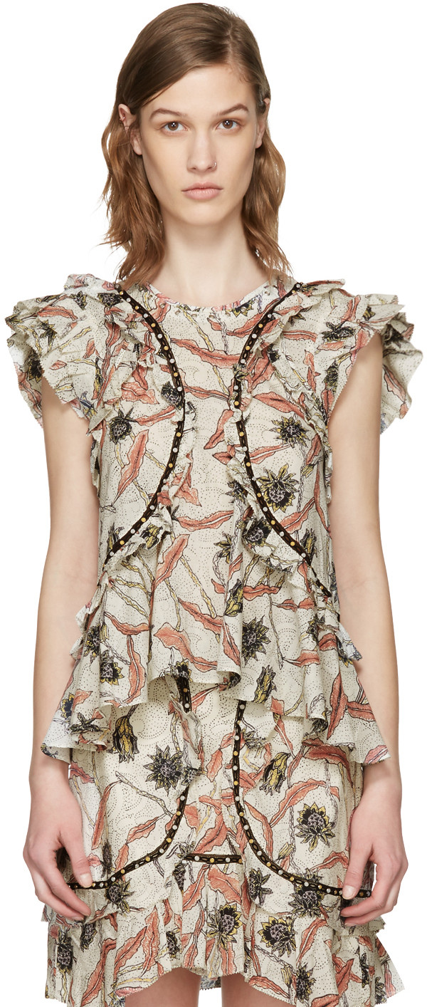 ISABEL MARANT Floral Printed Gauze Ruffled Top, Ecru at SSENSE