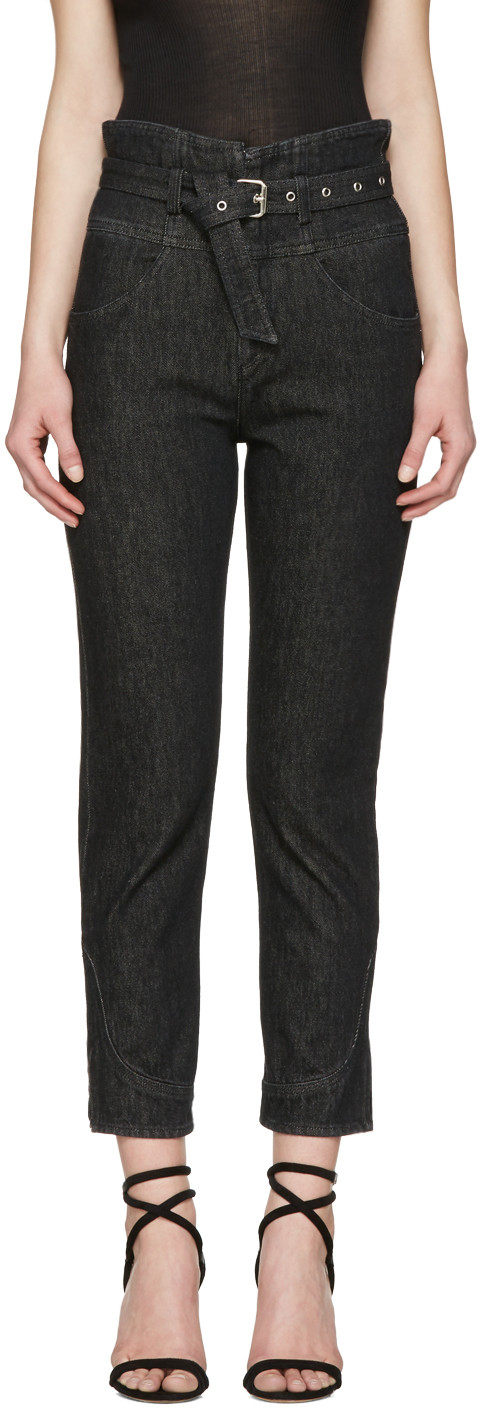 ISABEL MARANT Evera Belted High-Rise Straight-Leg Jeans at SSENSE