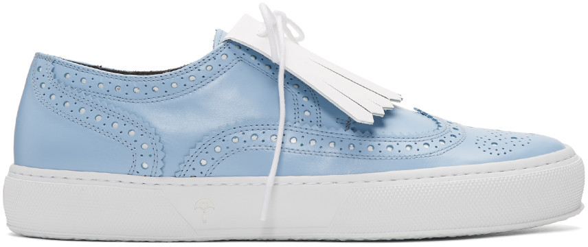 ROBERT CLERGERIE Blue Tolka Brogue Sneakers