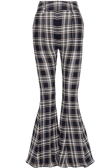 BEAUFILLE Navi Plaid Open-Knit Cotton Flared Pants at NET-A-PORTER