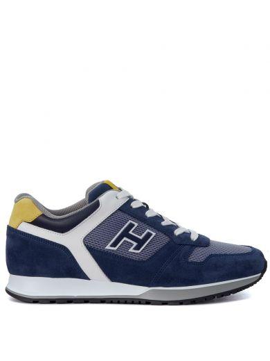 HOGAN Sneaker Hogan H321 In Pelle Blu, Bianca E Ocra