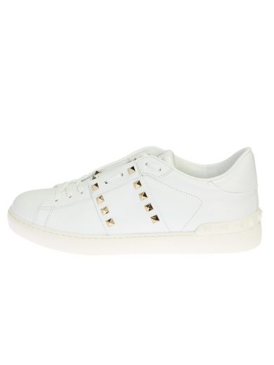 VALENTINO Rockstud White Leather Sneakers in Black