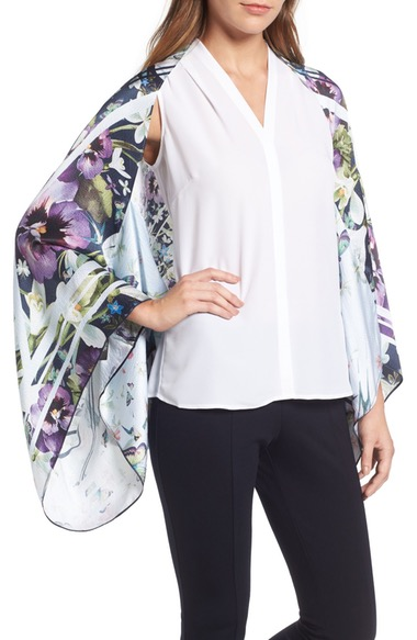 TED BAKER Elva Enchantment Cape Scarf in Navy