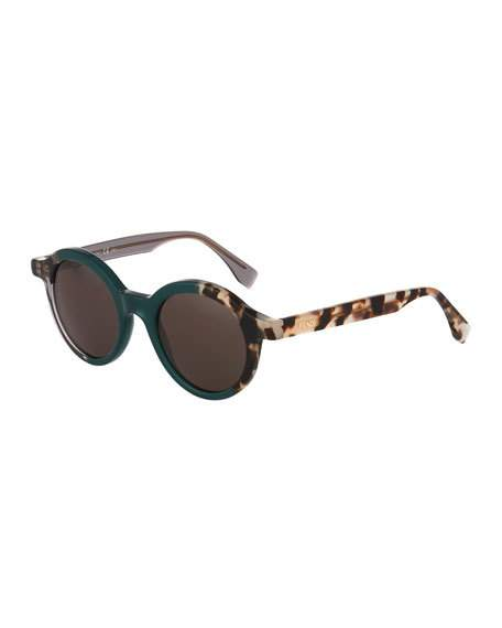 FENDI Two-Tone Round Sunglasses, Green/Gray at LastCall.com