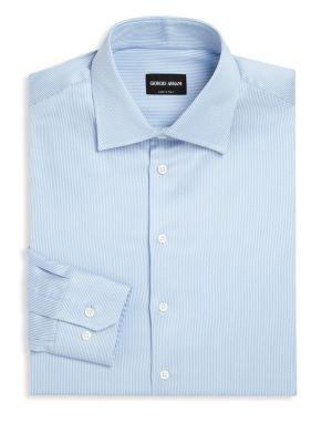 GIORGIO ARMANI Striped Long Sleeve Regular-Fit Dress Shirt at Saks Fifth Avenue