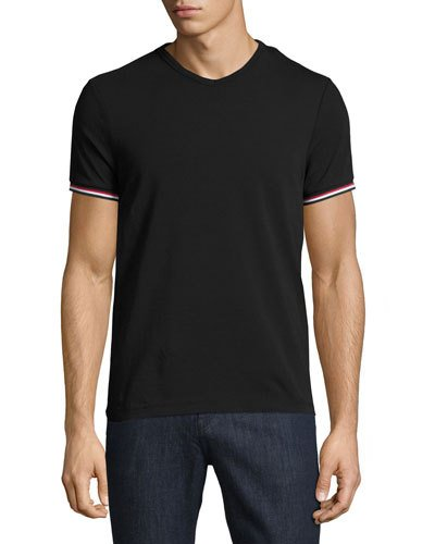 MONCLER V-Neck T-Shirt With Tricolor-Striped Sleeves, Light Gray at BERGDORF GOODMAN