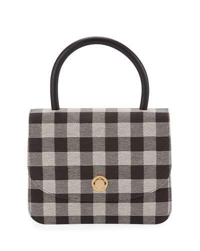 MANSUR GAVRIEL Metropolitan Gingham Top-Handle Bag, Black at BERGDORF GOODMAN