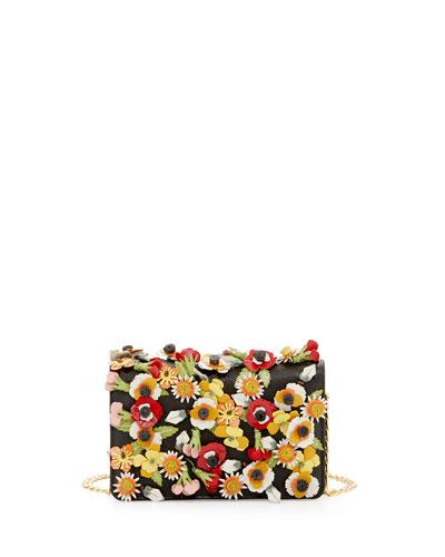 PRADA Saffiano Garden Floral Crossbody Bag, Black at BERGDORF GOODMAN