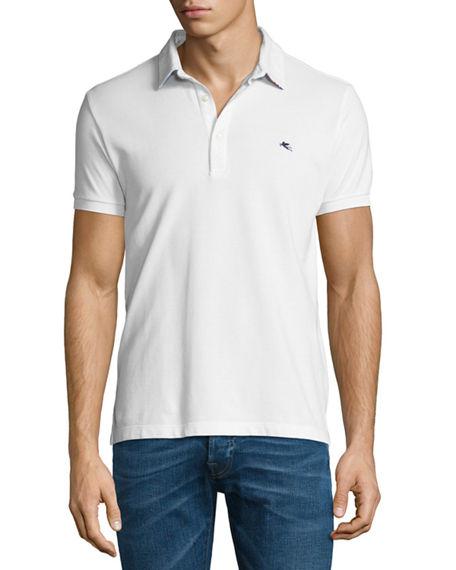 ETRO Paisley-Collar Polo Shirt, White at BERGDORF GOODMAN