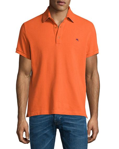 ETRO Paisley-Collar Polo Shirt, Orange