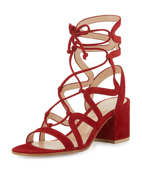 GIANVITO ROSSI Lace-Up Block-Heel 60Mm Suede Gladiator Sandal