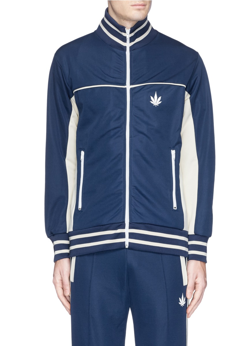 PALM ANGELS Cannabis Leaf Print Contrast Track Jacket at Lane Crawford