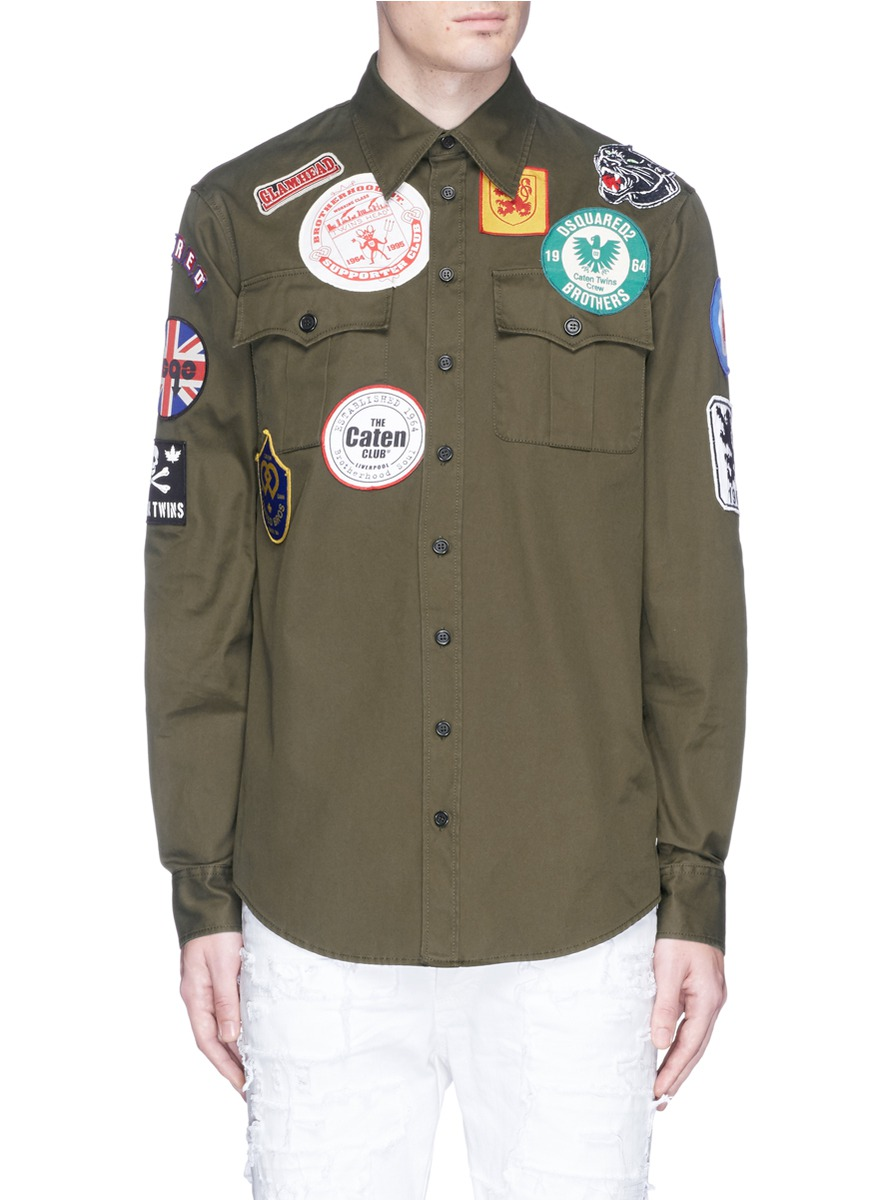 DSQUARED2 Dsquared Patched Military Shirt at Lane Crawford