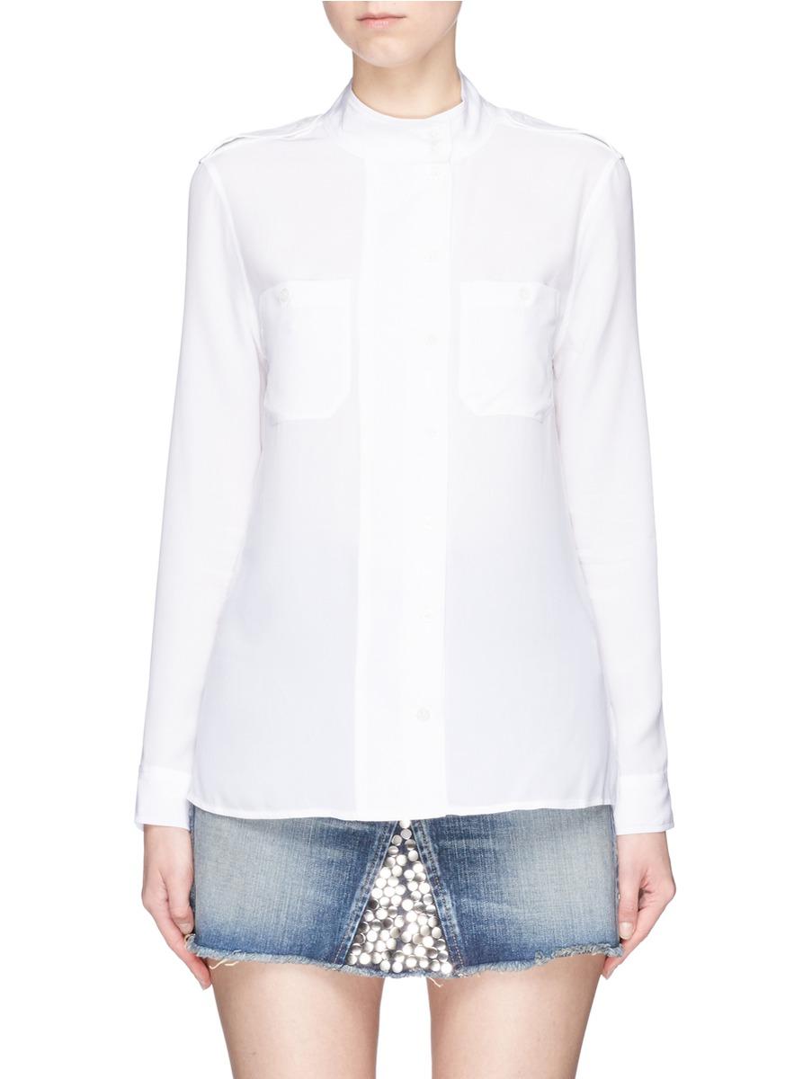 EQUIPMENT 'Alma' Wide Placket Silk Shirt