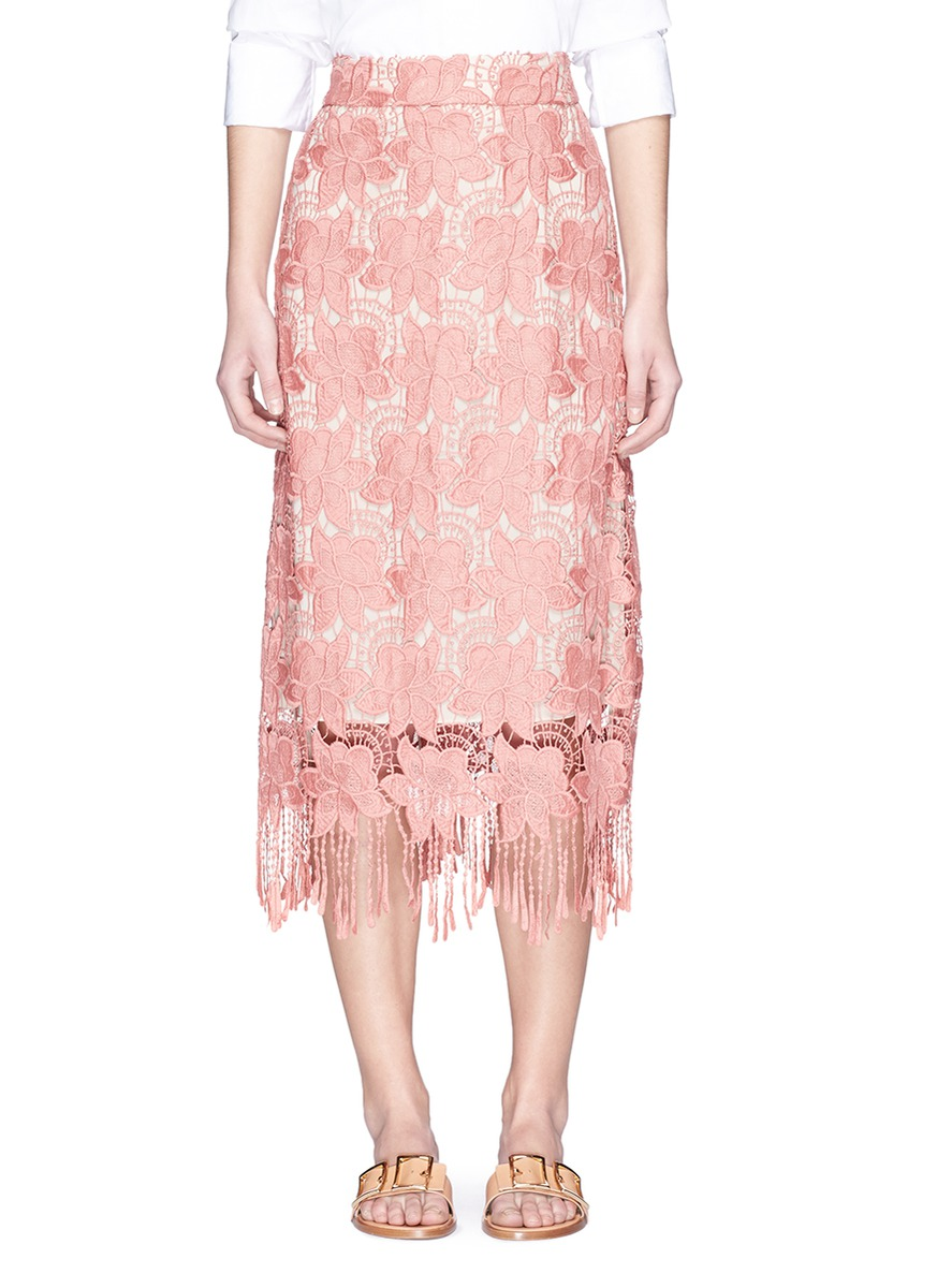 ALICE AND OLIVIA Floral Guipure Lace Pencil Skirt, Pink/White, Multi at Lane Crawford